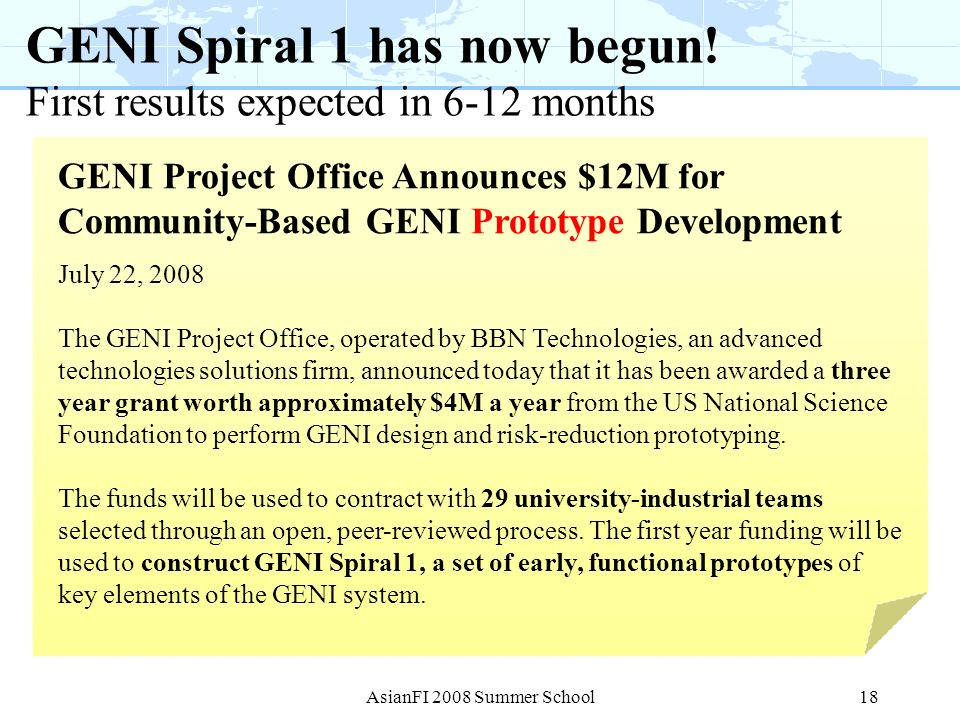 GENI Spiral 1 has now begun! First results expected in 6-12 months
