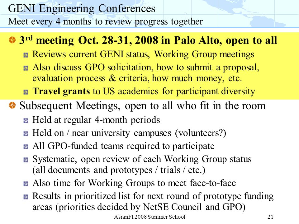 3rd meeting Oct. 28-31, 2008 in Palo Alto, open to all