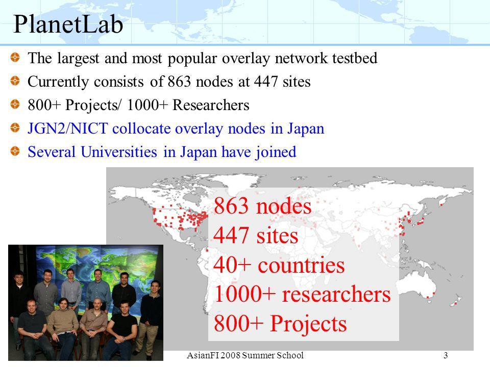 PlanetLab 863 nodes 447 sites 40+ countries 1000+ researchers