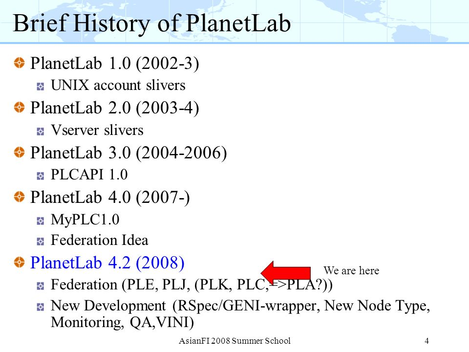 Brief History of PlanetLab