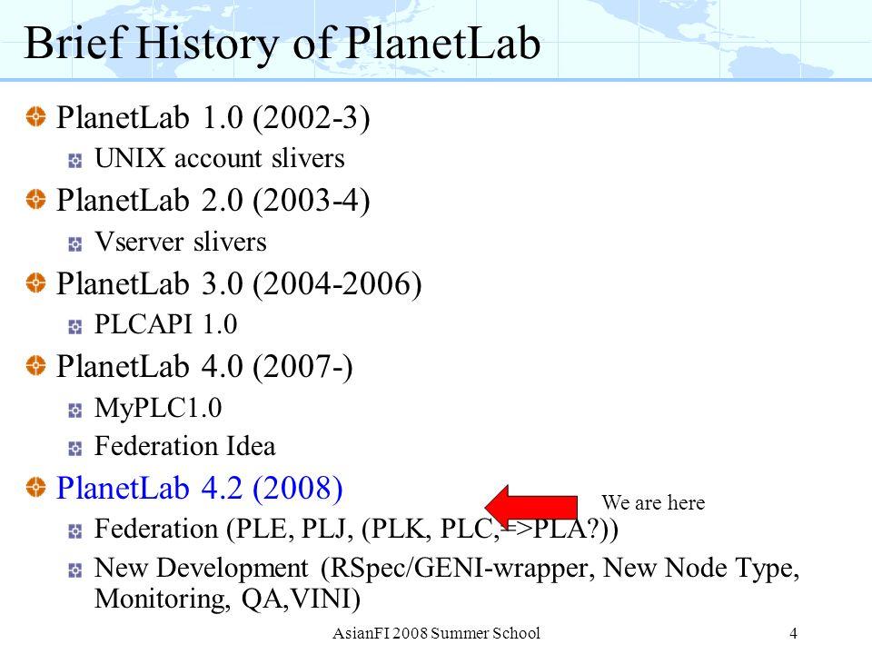 Brief History of PlanetLab