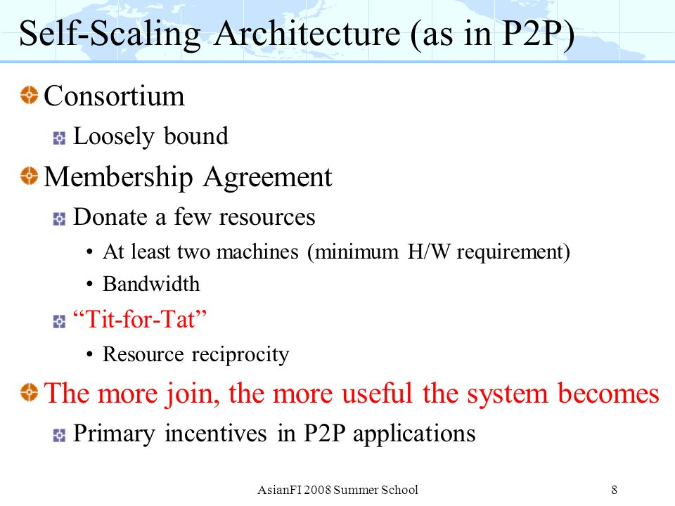 Self-Scaling Architecture (as in P2P)
