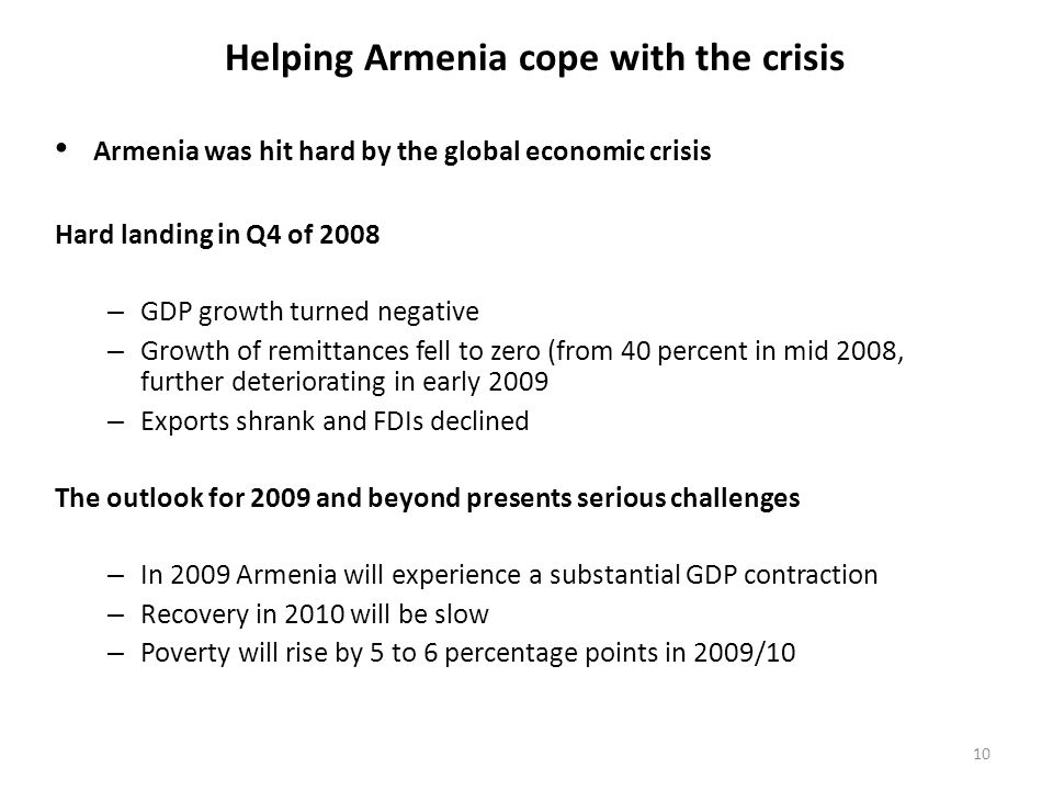 Helping Armenia cope with the crisis