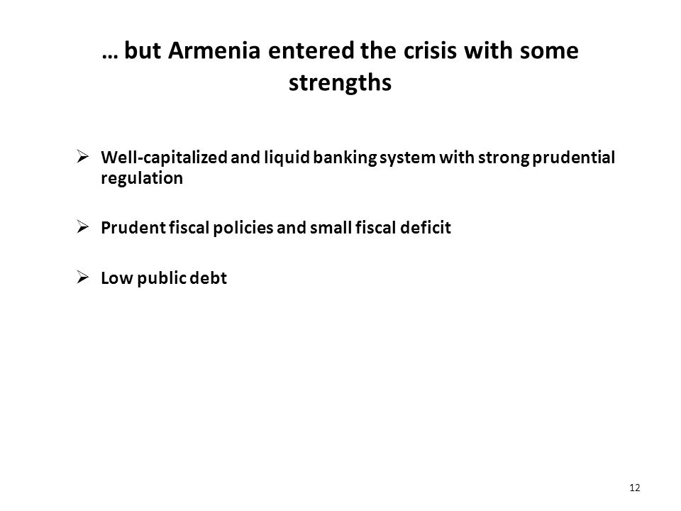 … but Armenia entered the crisis with some strengths