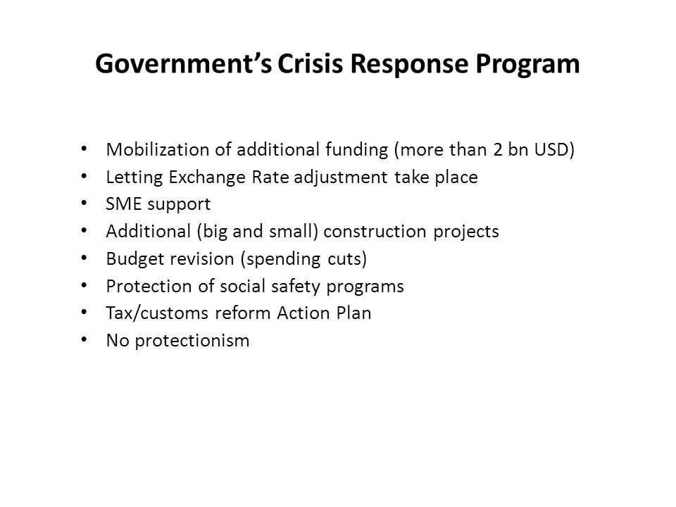 Government's Crisis Response Program