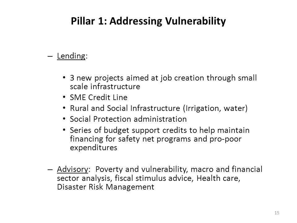 Pillar 1: Addressing Vulnerability