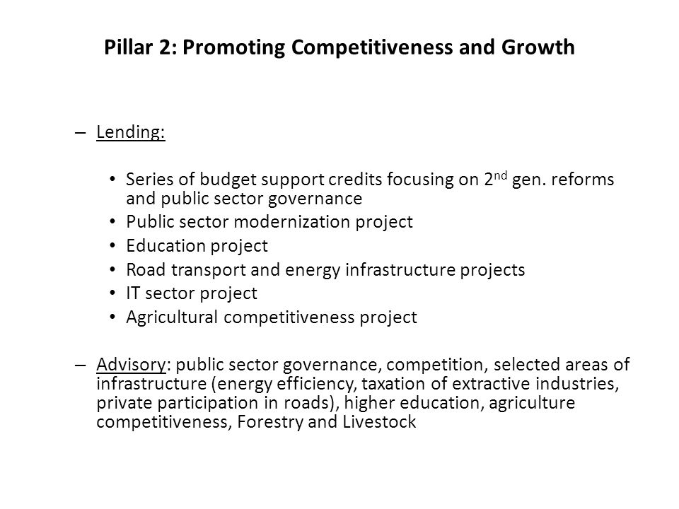 Pillar 2: Promoting Competitiveness and Growth