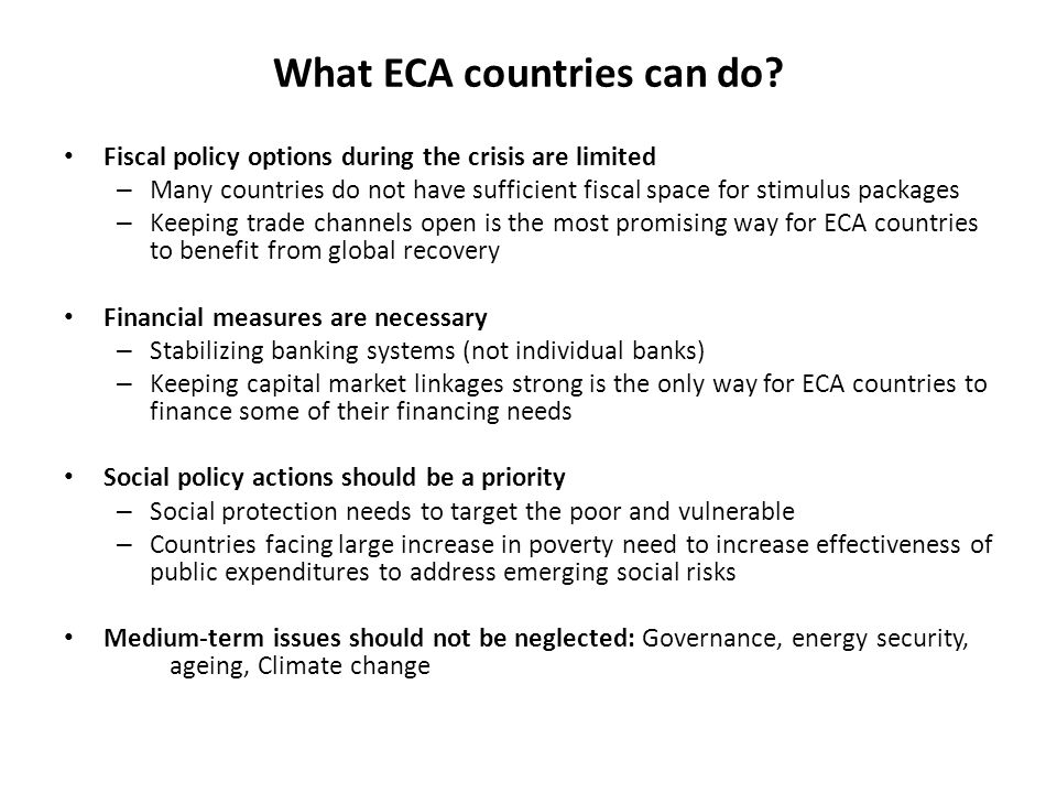 What ECA countries can do