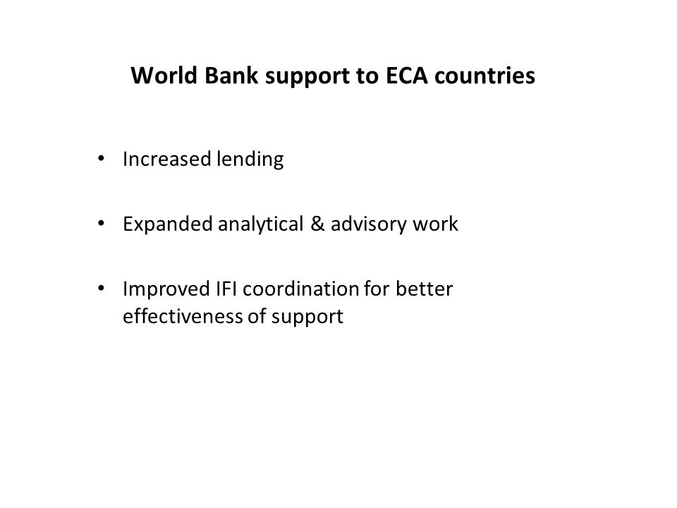 World Bank support to ECA countries