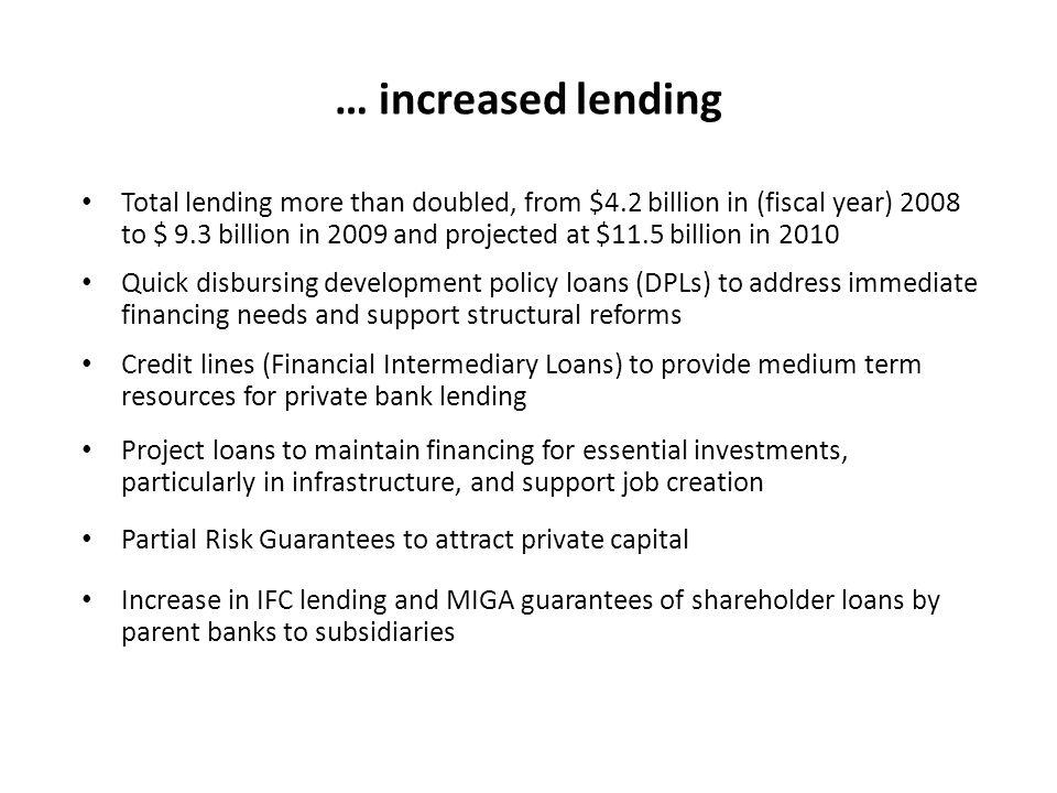 … increased lending