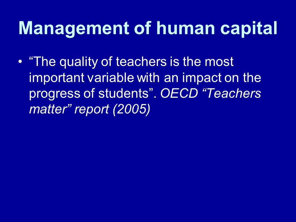 Management of human capital