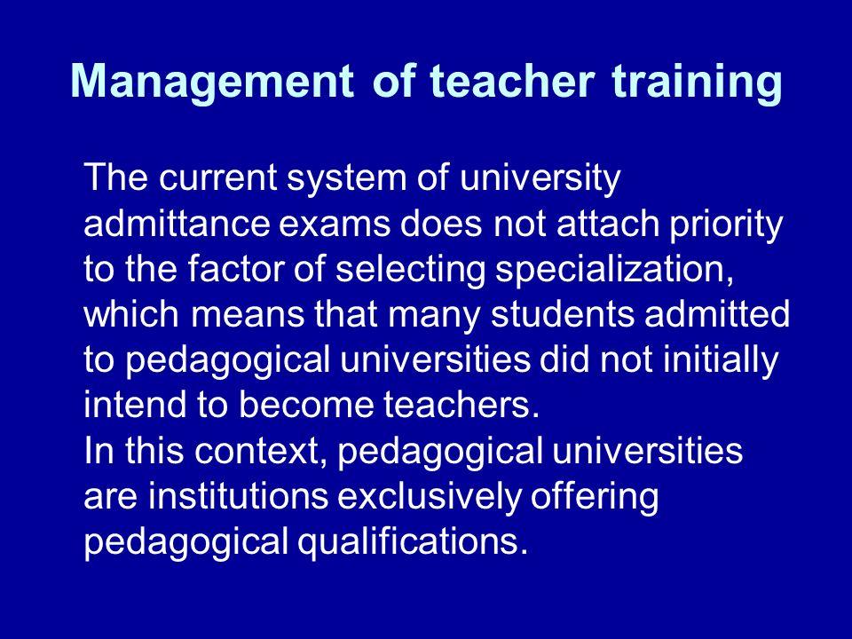 Management of teacher training
