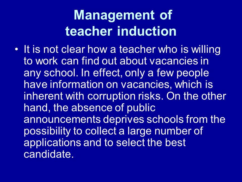 Management of teacher induction