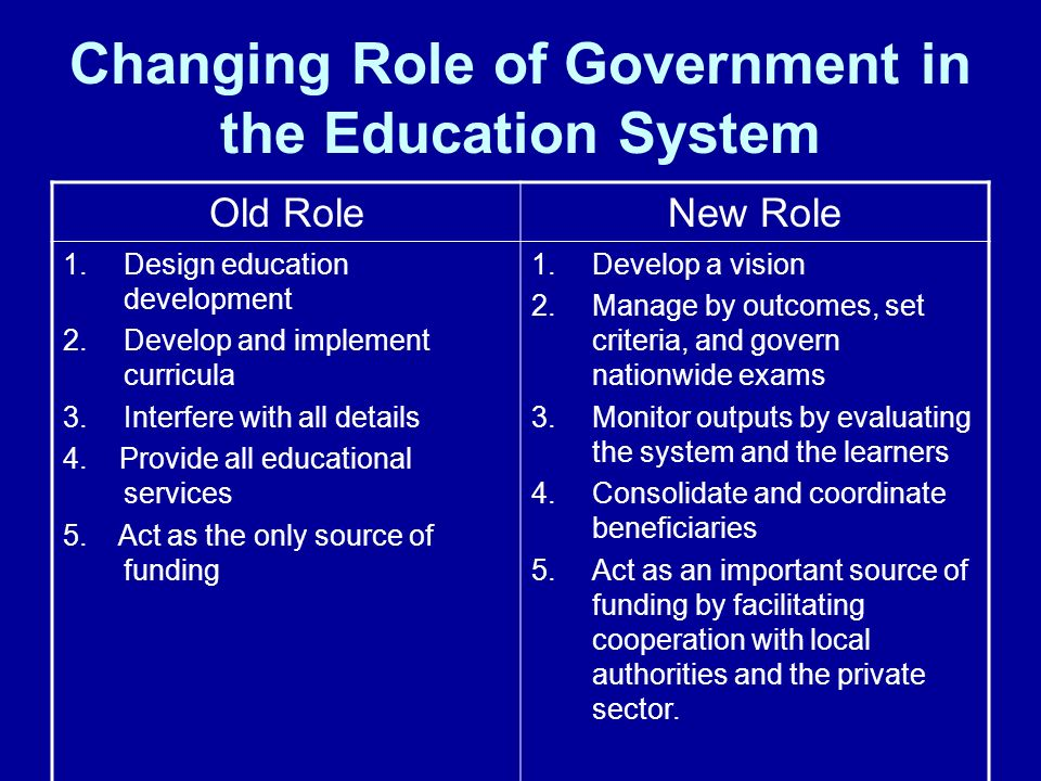Changing Role of Government in the Education System