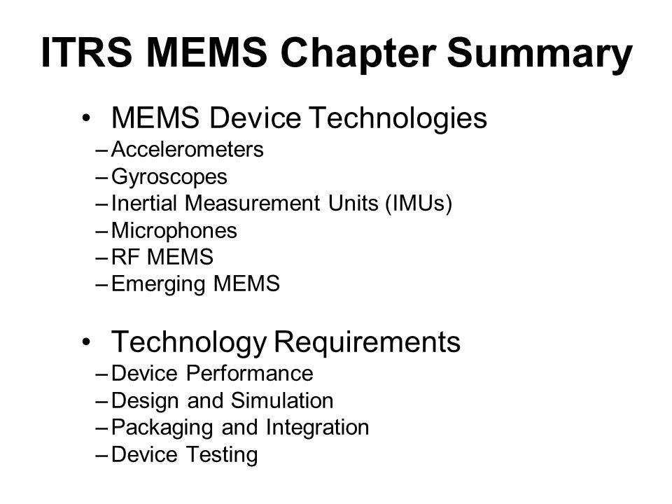 ITRS MEMS Chapter Summary