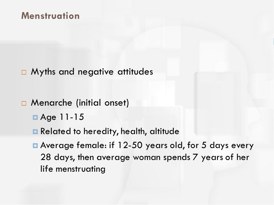 Myths and negative attitudes Menarche (initial onset)