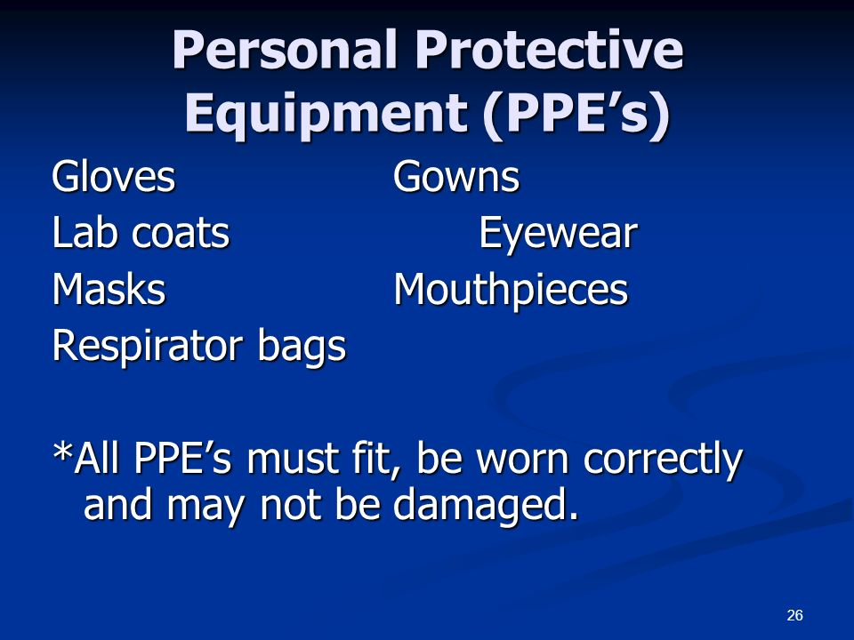 Personal Protective Equipment (PPE's)