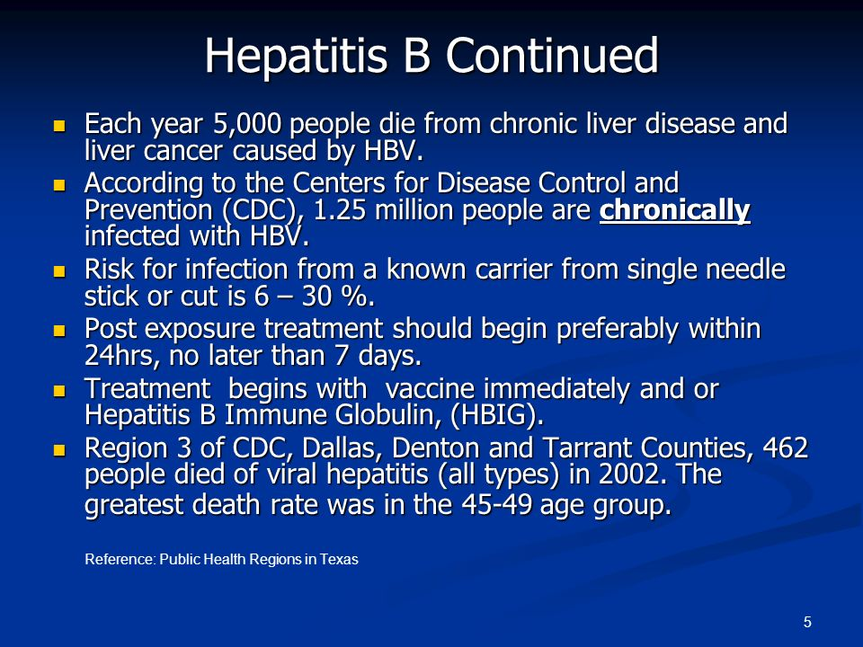 Hepatitis B Continued Each year 5,000 people die from chronic liver disease and liver cancer caused by HBV.
