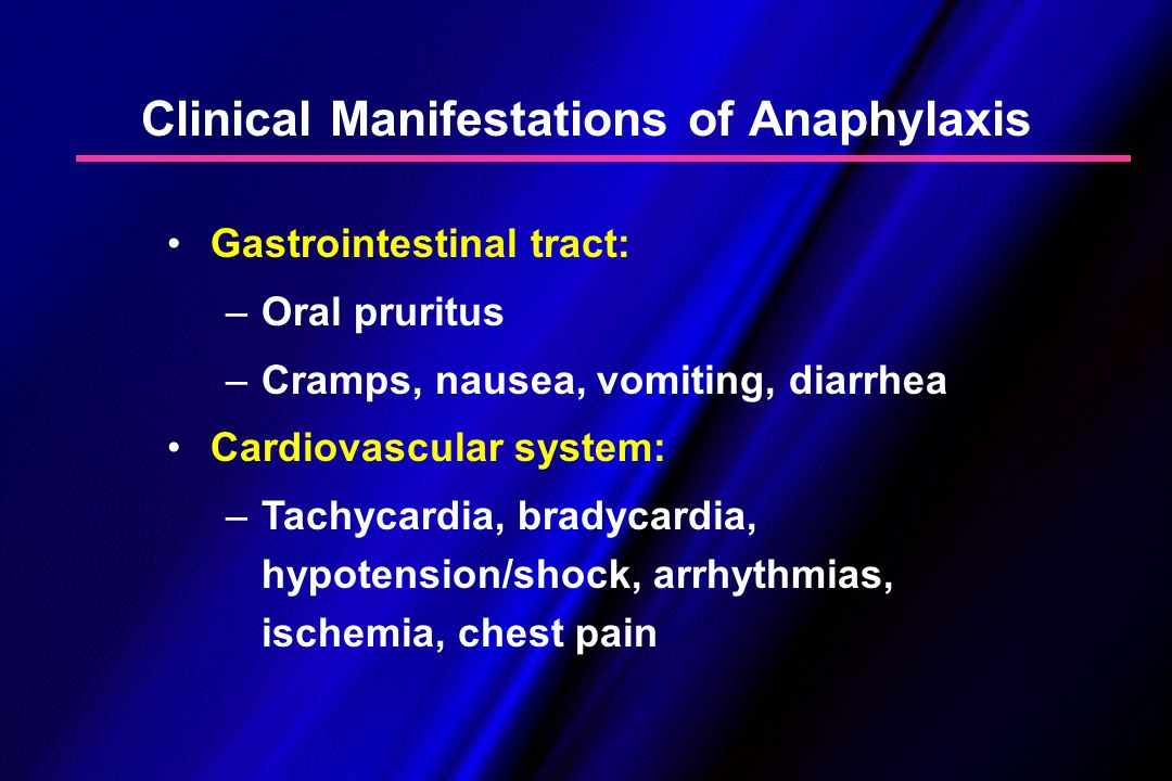 Clinical Manifestations of Anaphylaxis