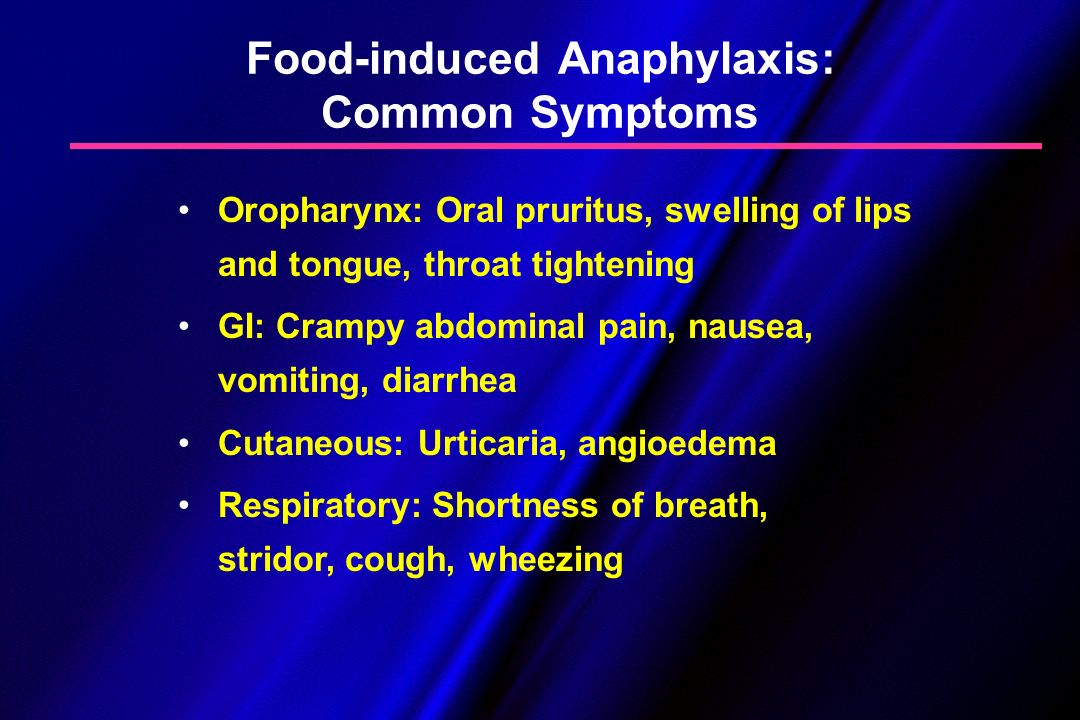Food-induced Anaphylaxis: Common Symptoms