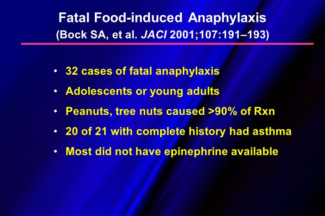 Fatal Food-induced Anaphylaxis (Bock SA, et al. JACI 2001;107:191–193)