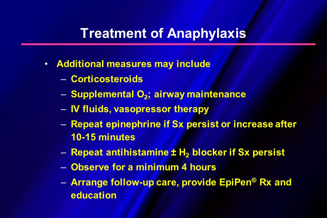 a research on anaphylaxis condition and treatment Anaphylaxis must be treated right away to provide the best chance for improvement and prevent serious, potentially life-threatening complications what is the treatment for anaphylaxis epinephrine (ep-uh-nef-rin) is the most important treatment available.