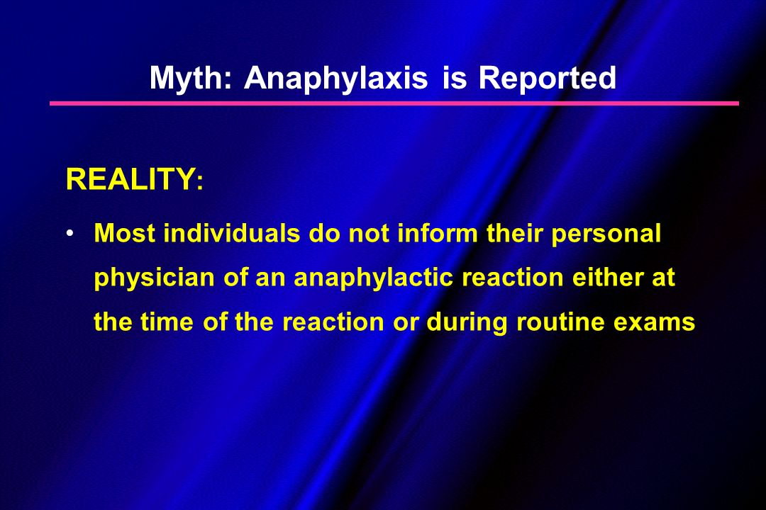 Myth: Anaphylaxis is Reported