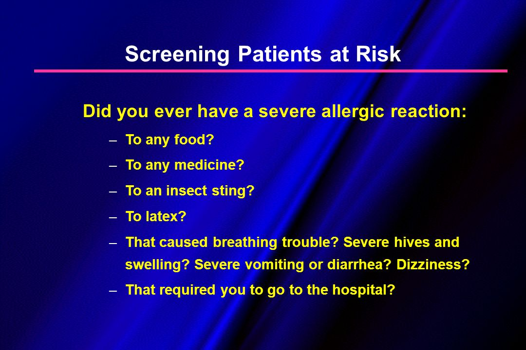 Screening Patients at Risk