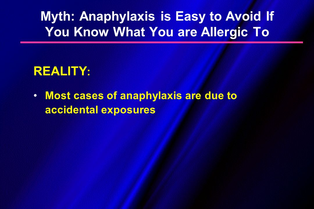 Myth: Anaphylaxis is Easy to Avoid If You Know What You are Allergic To