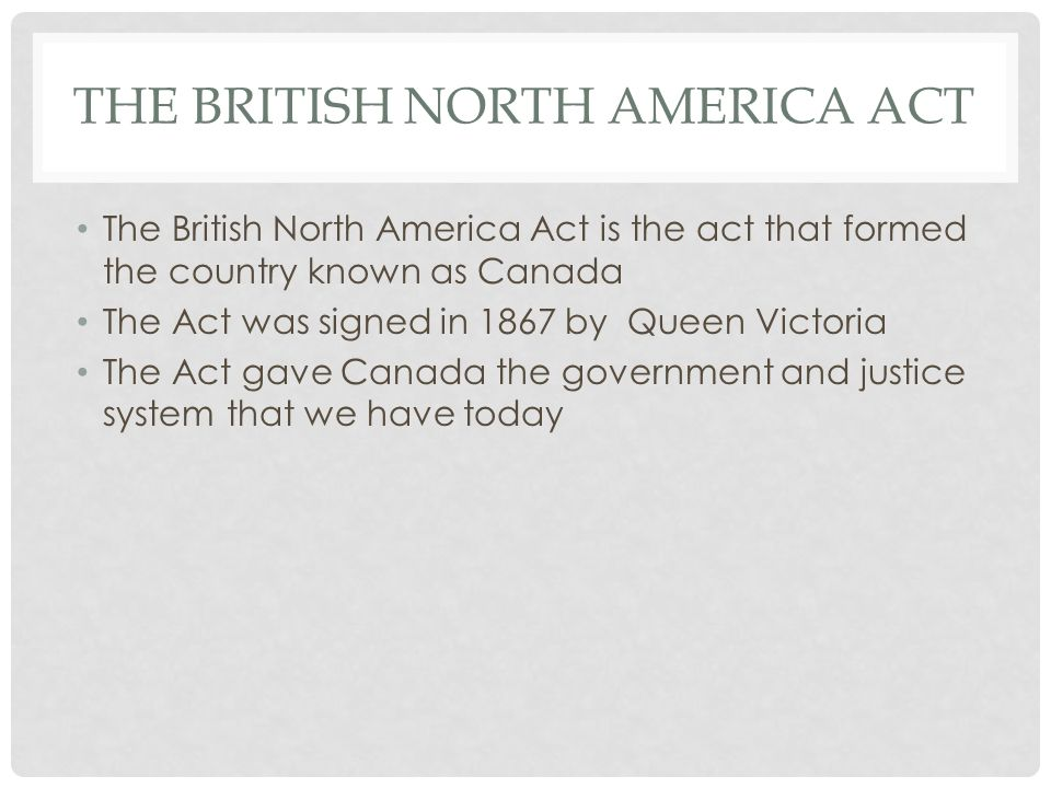 The British North America Act