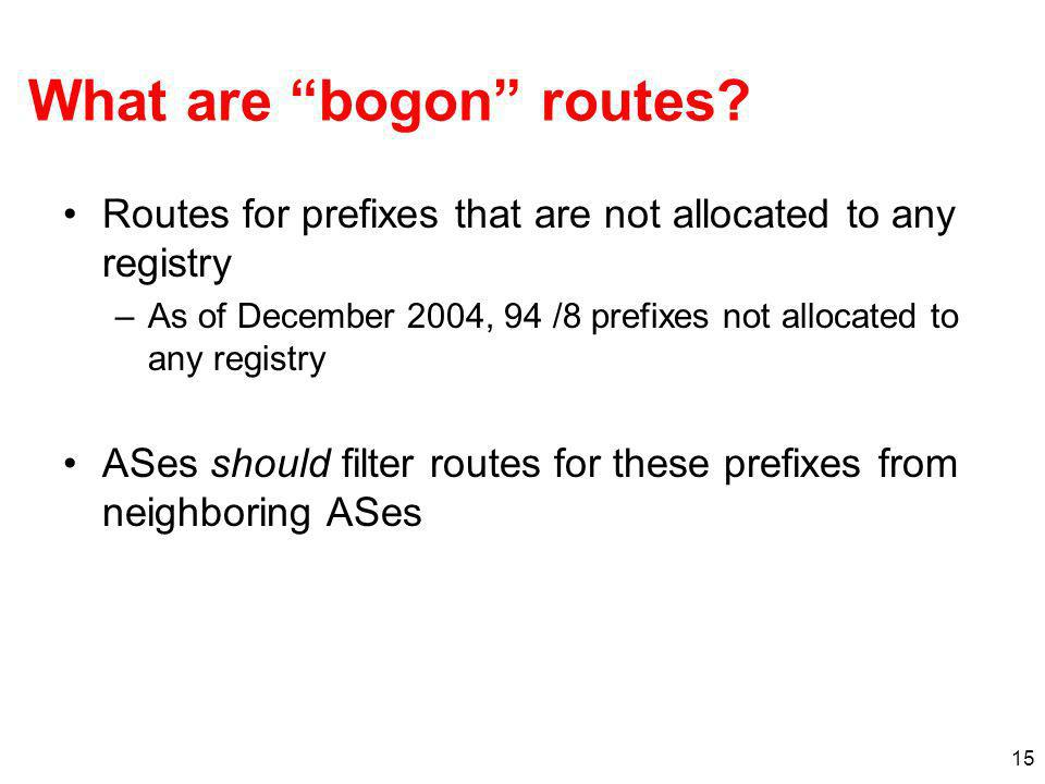 What are bogon routes