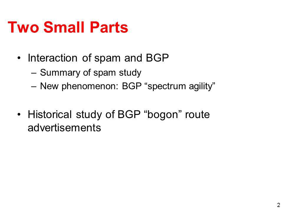 Two Small Parts Interaction of spam and BGP