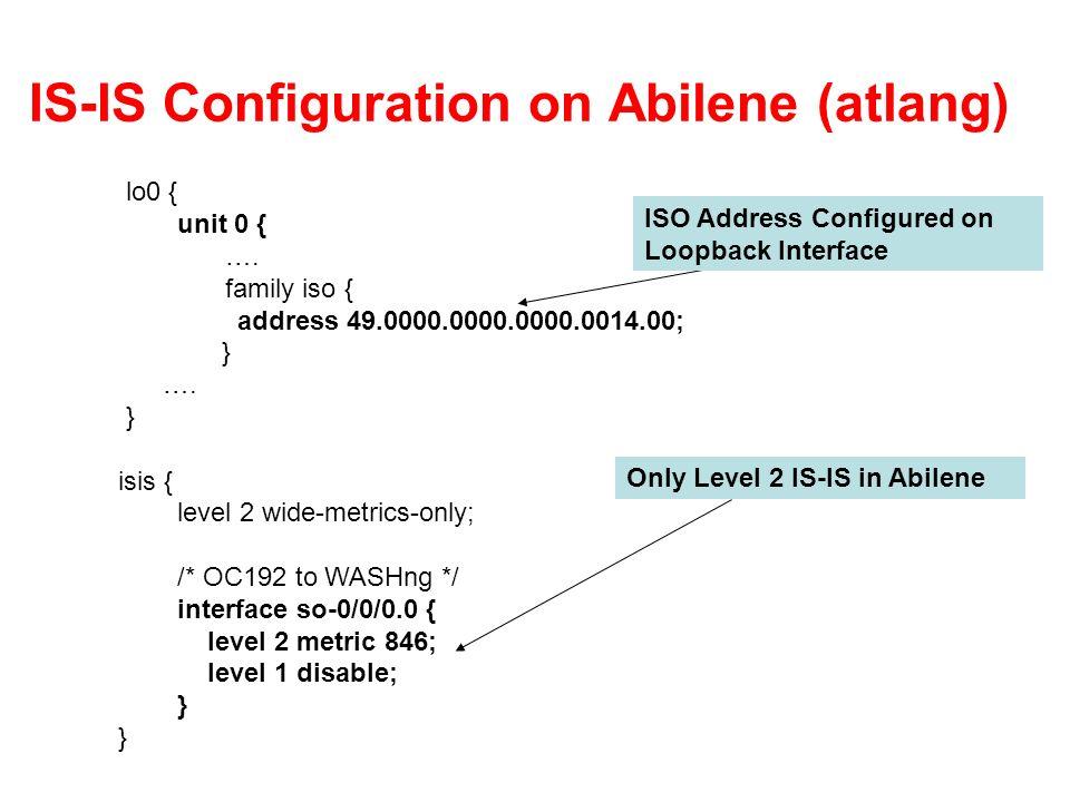 IS-IS Configuration on Abilene (atlang)