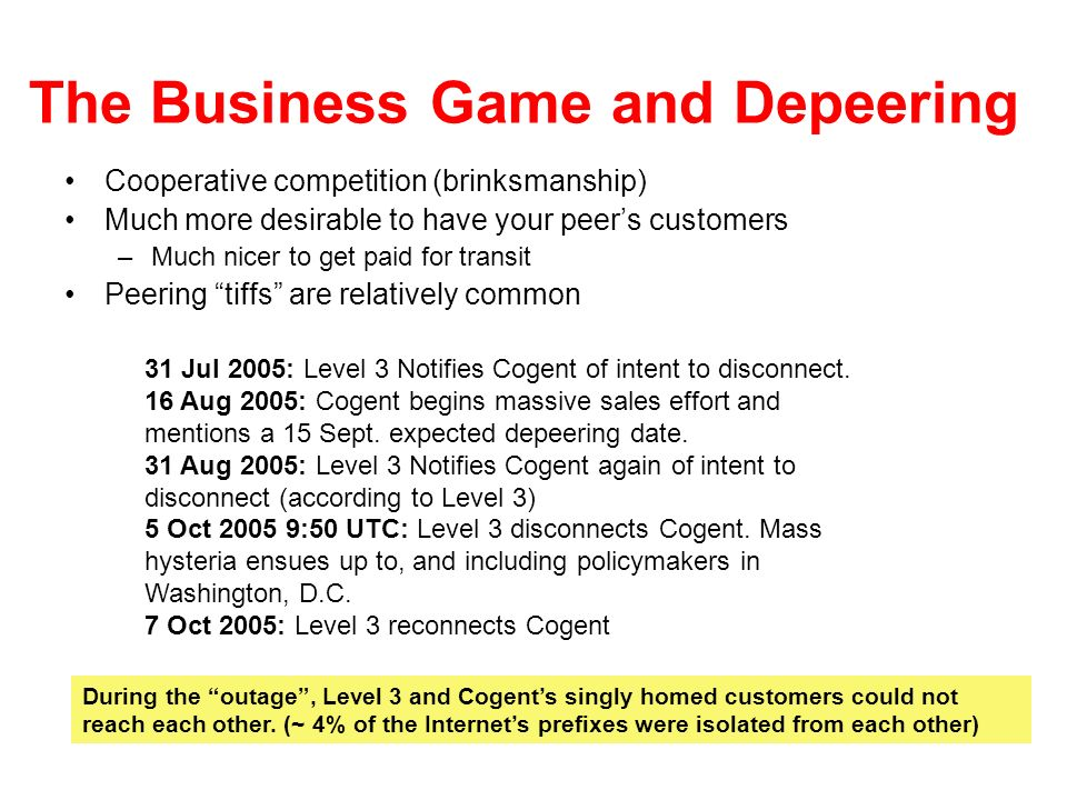 The Business Game and Depeering