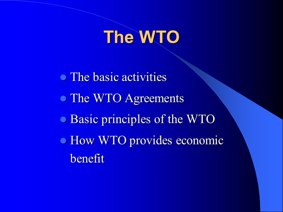 The WTO The basic activities The WTO Agreements