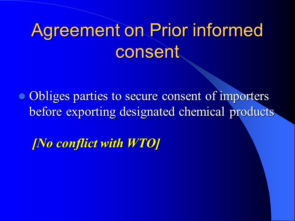 Agreement on Prior informed consent