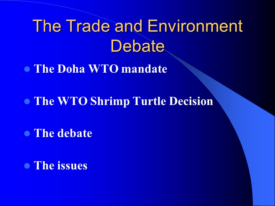 The Trade and Environment Debate