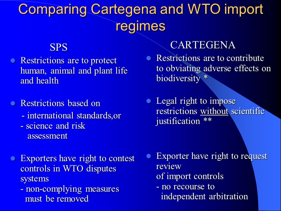 Comparing Cartegena and WTO import regimes