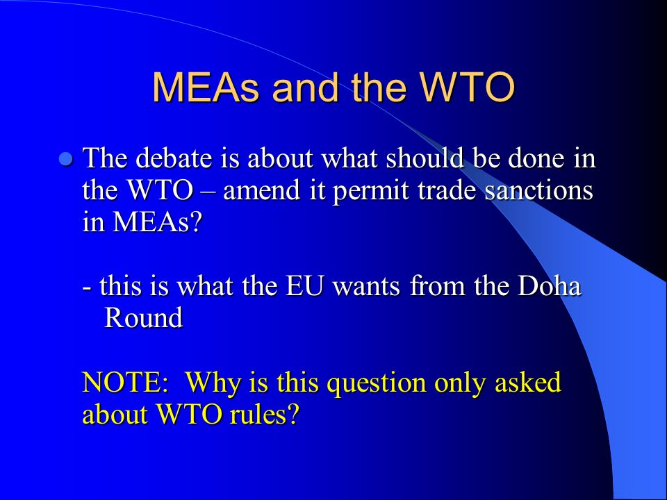 MEAs and the WTO