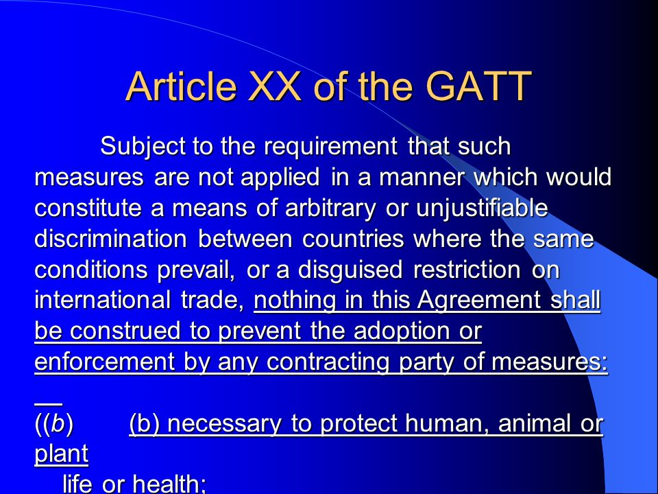 Article XX of the GATT