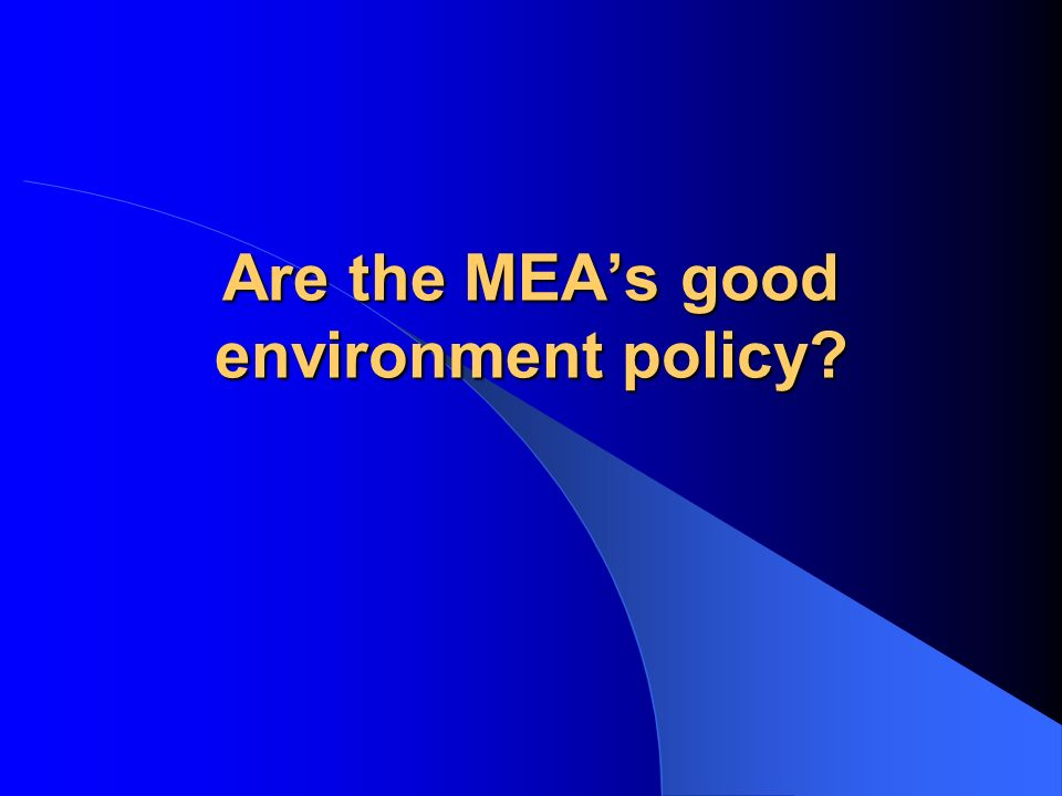 Are the MEA's good environment policy
