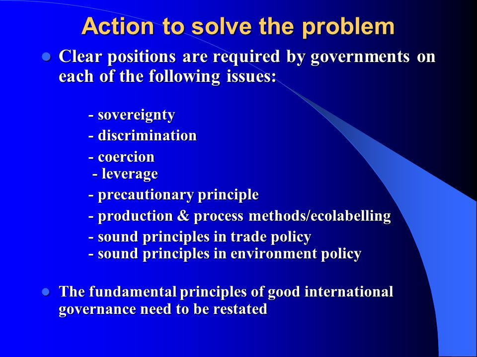 Action to solve the problem