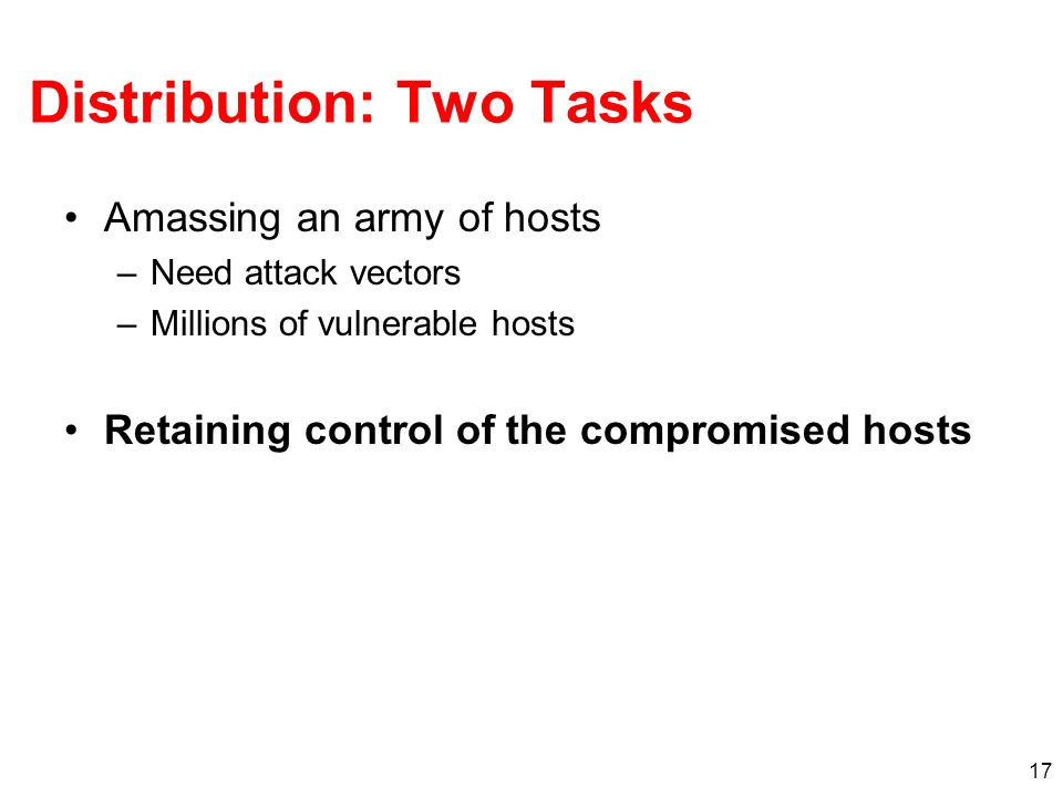 Distribution: Two Tasks