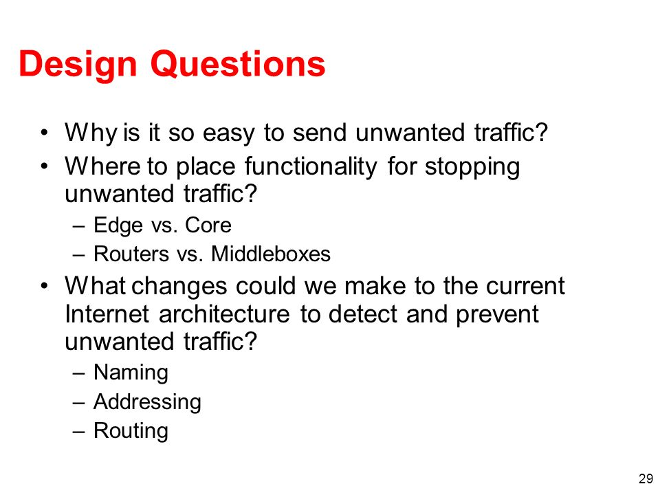 Design Questions Why is it so easy to send unwanted traffic