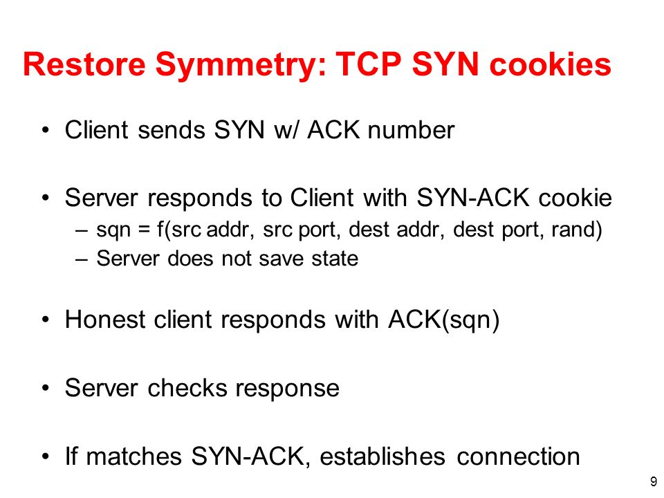 Restore Symmetry: TCP SYN cookies