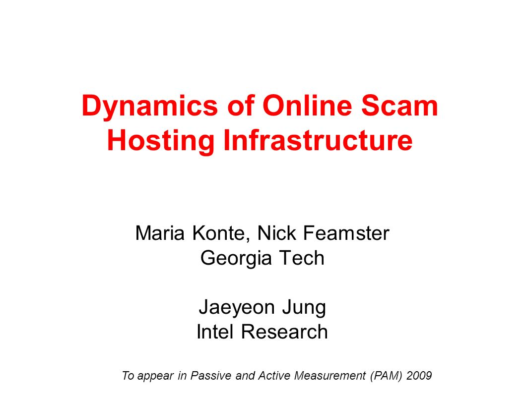 Dynamics of Online Scam Hosting Infrastructure