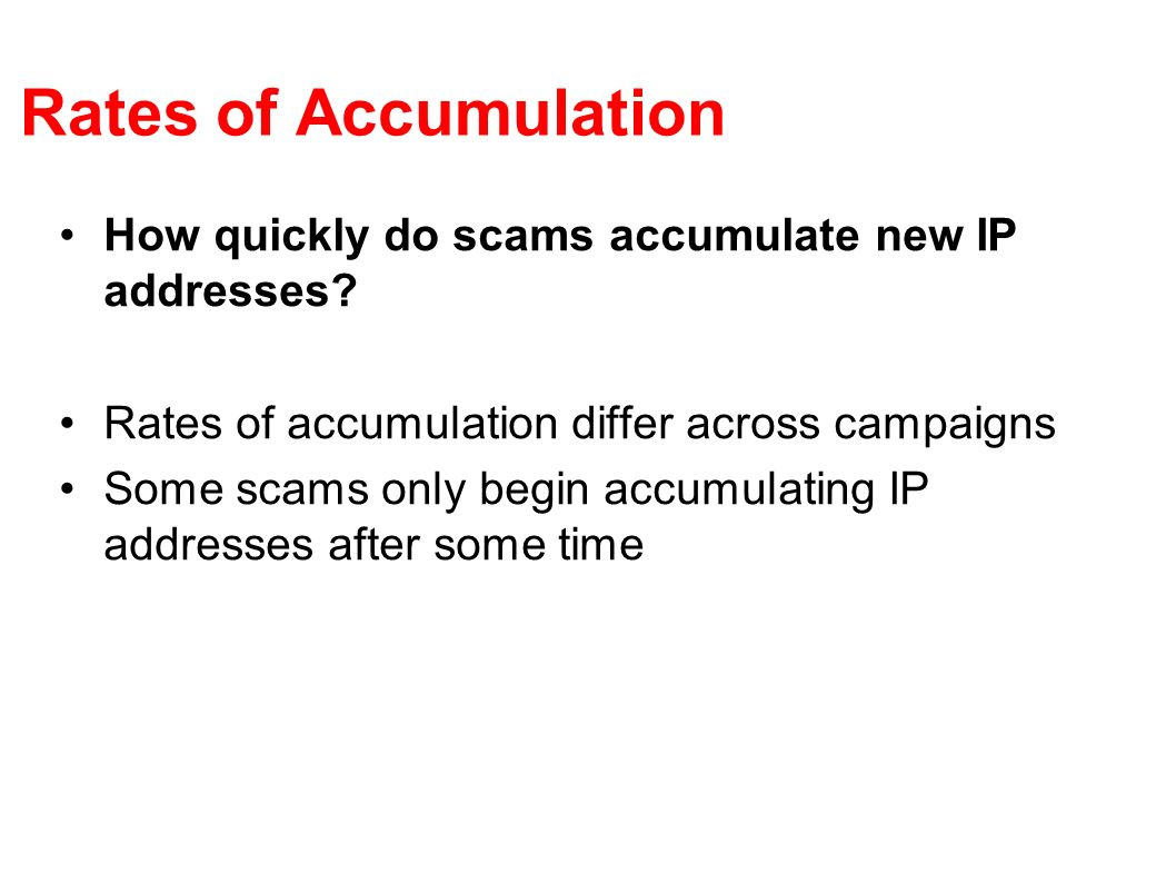 Rates of Accumulation How quickly do scams accumulate new IP addresses Rates of accumulation differ across campaigns.