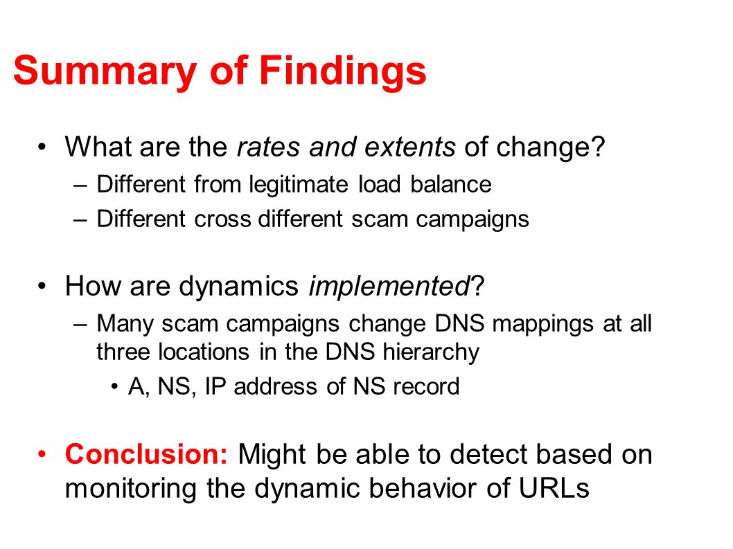 Summary of Findings What are the rates and extents of change