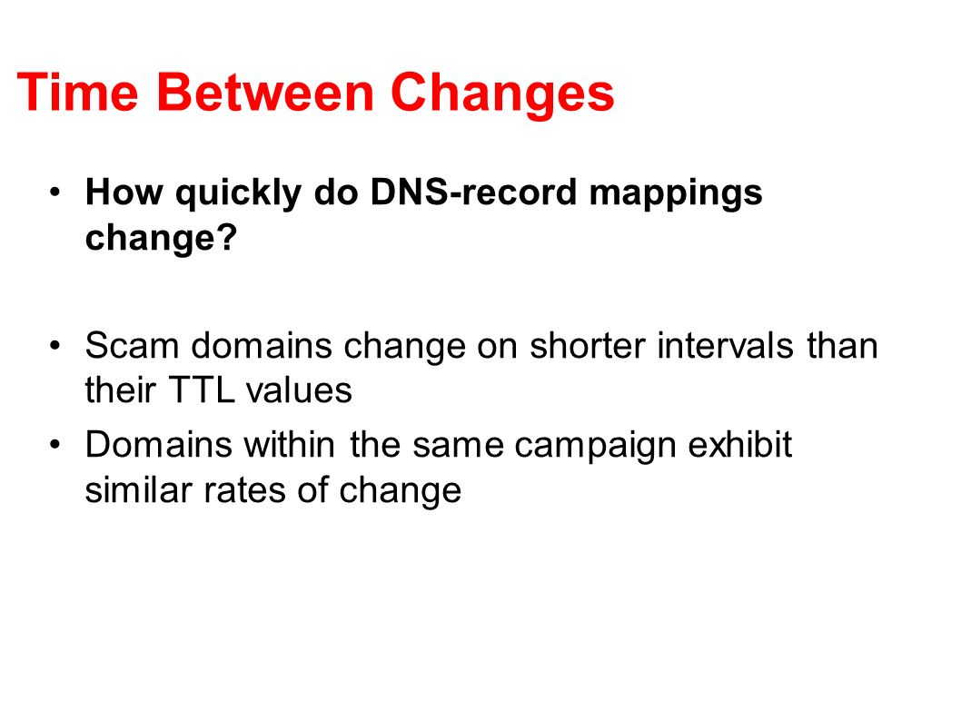 Time Between Changes How quickly do DNS-record mappings change