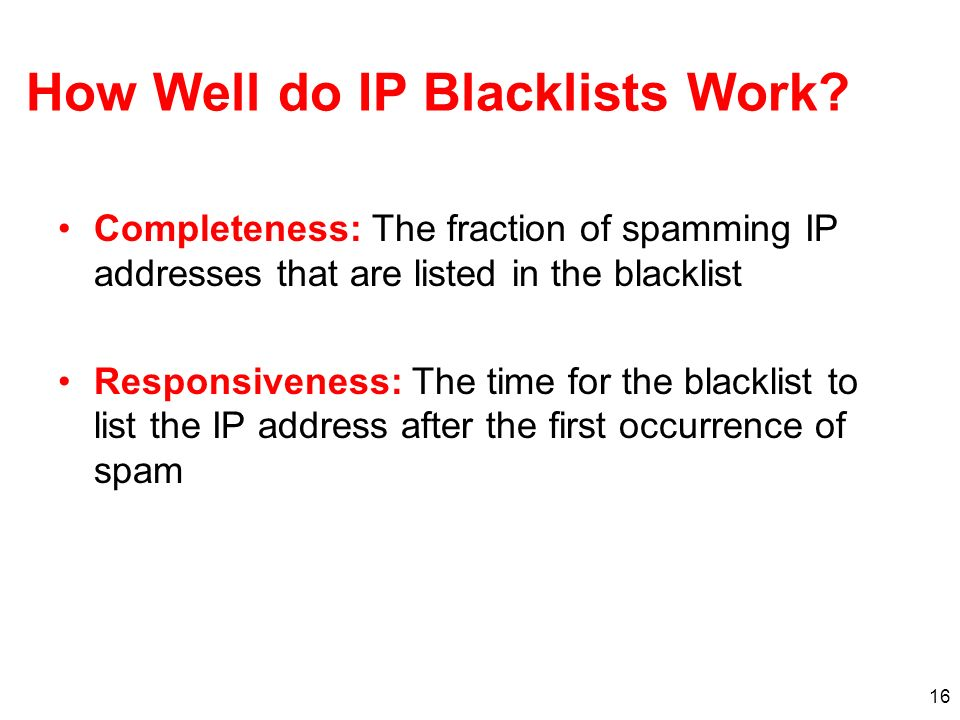 How Well do IP Blacklists Work